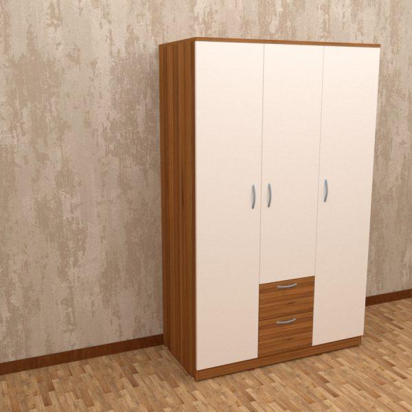 White and walnut finish three door wardrobe