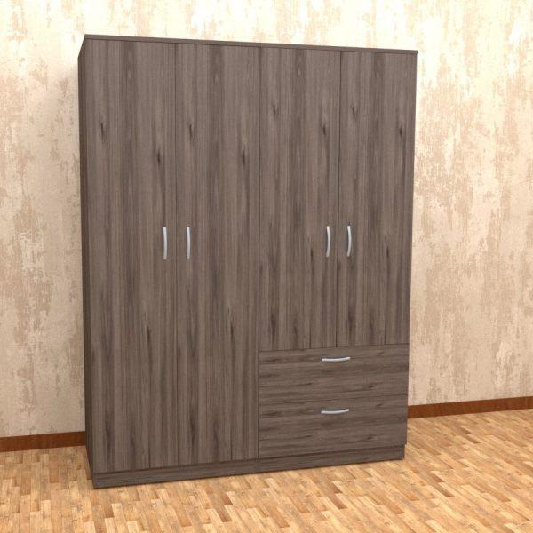 Dublin oak grey finish four door wardrobe