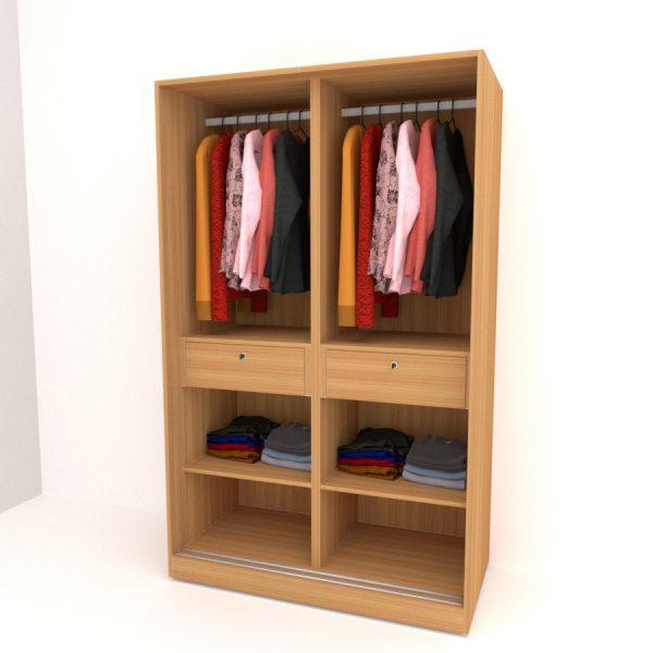 urban teak finish two door sliding wardrobe